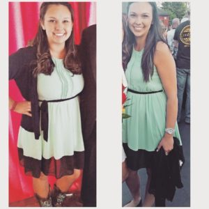Two pictures of the same woman in the same dress taken 11 months apart . . . what's the secret?